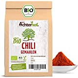 Chili Pulver BIO (250g) rot scharf aus getrockneten Chilischoten fein gemahlen Chilipulver vom-Achterhof- Werbung -