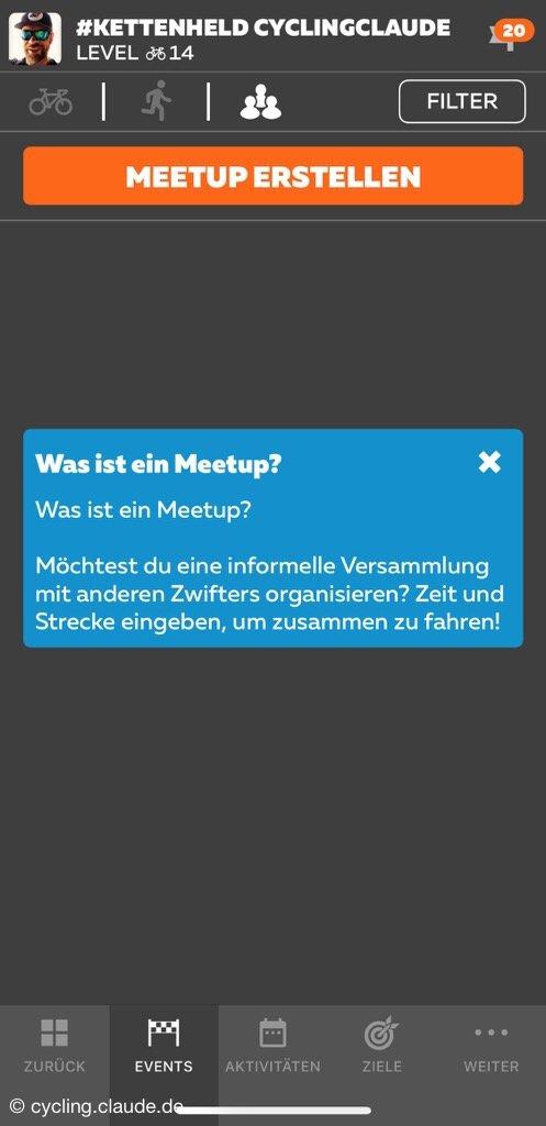 Zwift Meetup planen