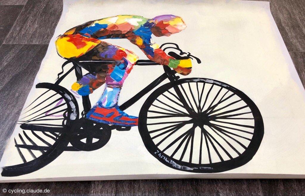Rennrad Öl Gemälde Paris Tour de France