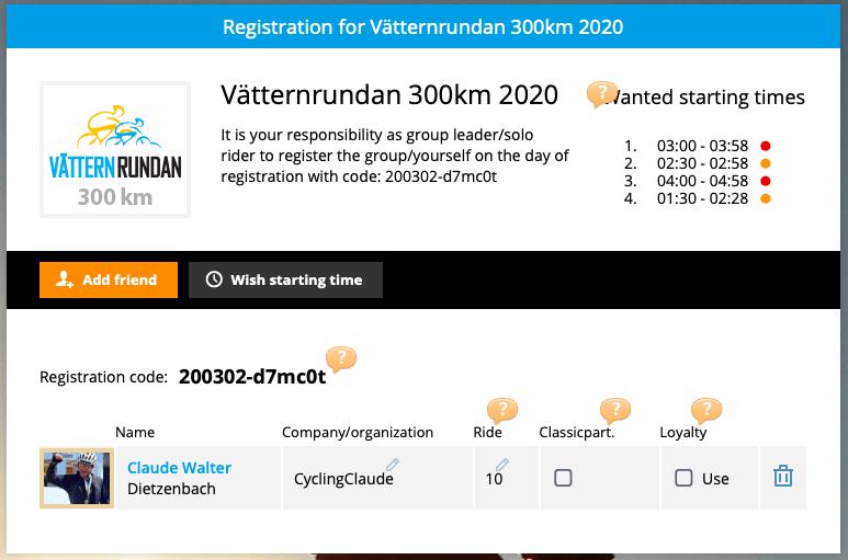 Vor-Registrierung Vätternrundan 2020