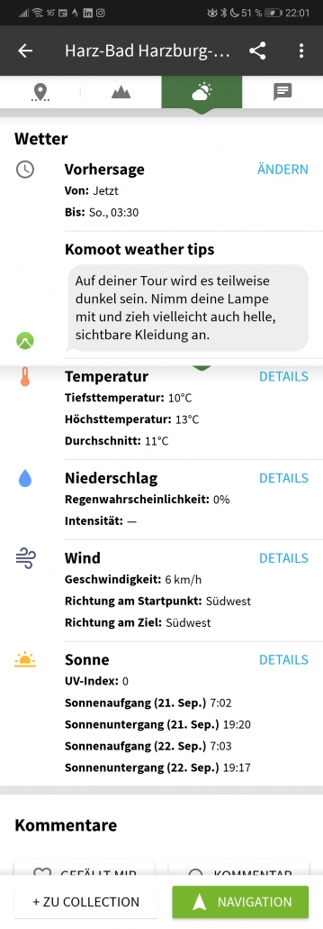 Komoot Premium Wetter anzeigen