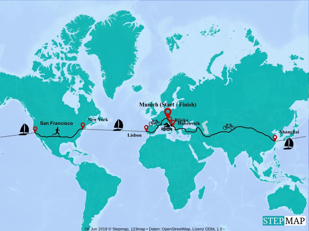 Karte Jonas Deichmann Route Triathlon 360 Degree