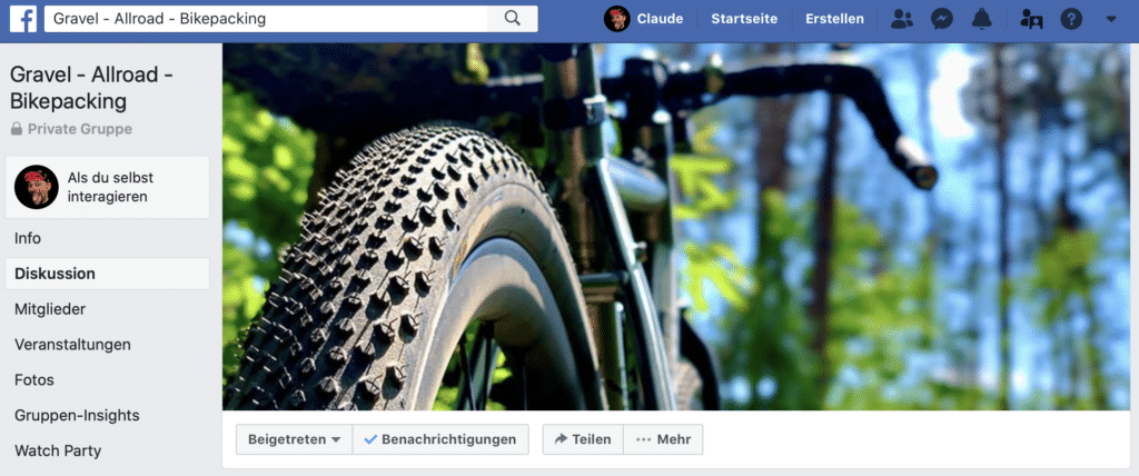 Gravel Allroad Bikepacking Facebook Gruppe