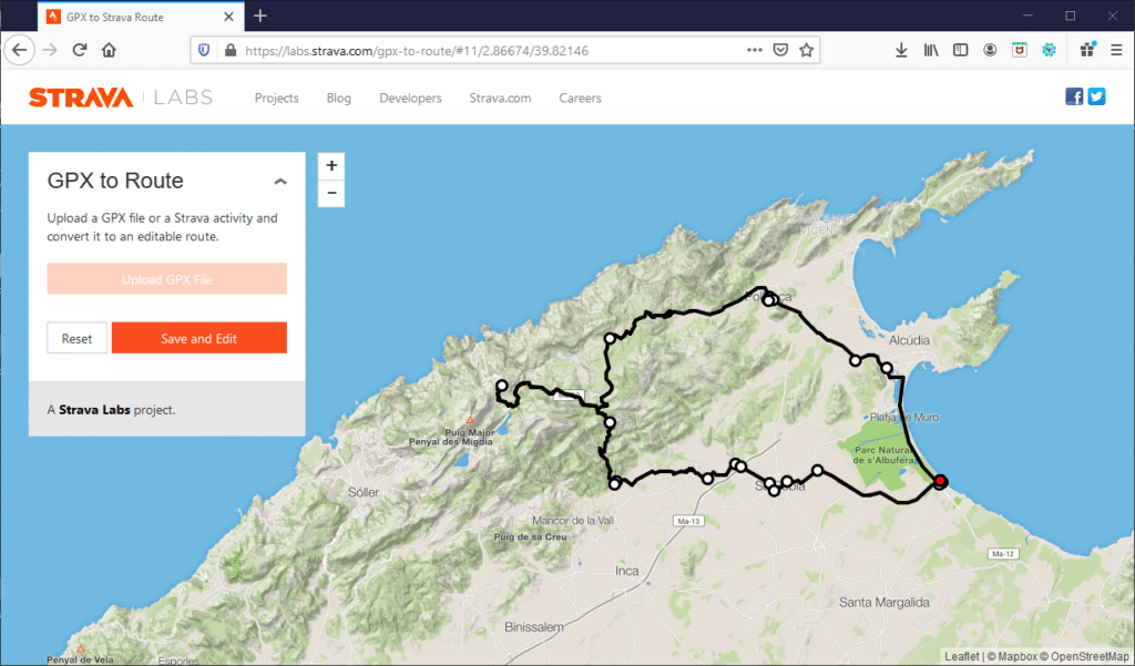 Strava GPX to Route