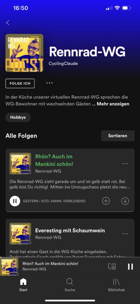 Rennrad-WG auf Apple, Spotify und Amazon