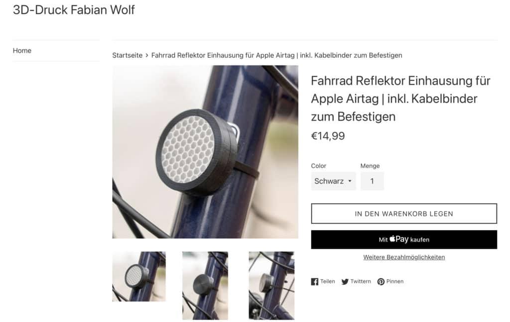 Fahrrad Reflektor mit Einhausung für Apple AirTag