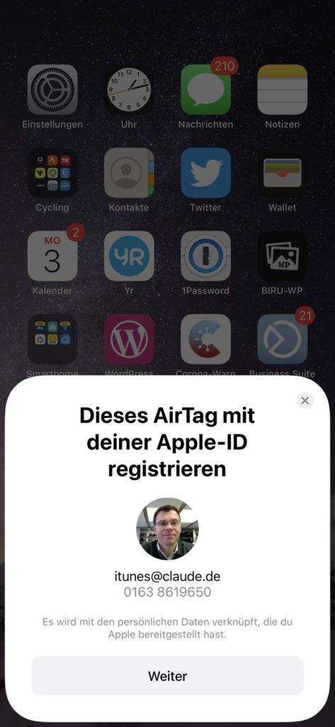 Einrichtung AirTag